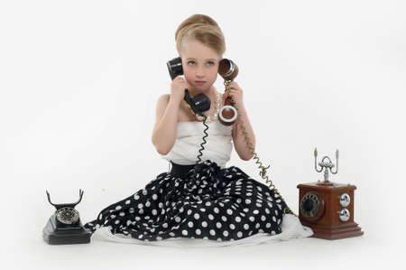 girl talking on retro phone Stock Photo - 15975915