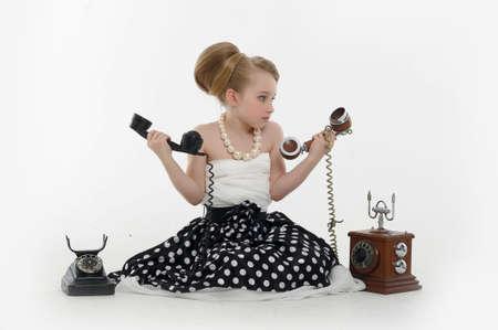 girl talking on retro phone Stock Photo - 15975919