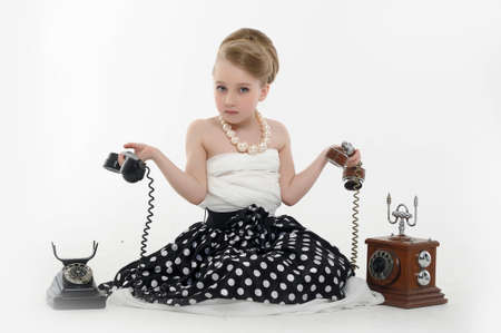 girl talking on retro phone Stock Photo - 15975917