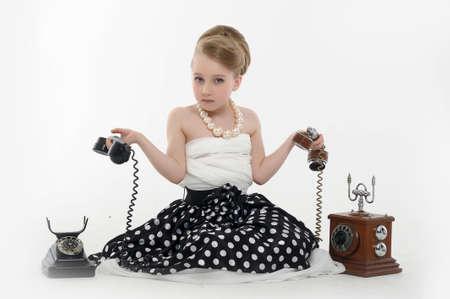 girl talking on retro phone Stock Photo - 15975917