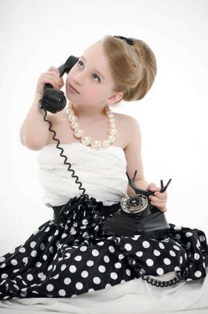 girl talking on retro phone Stock Photo - 15975926
