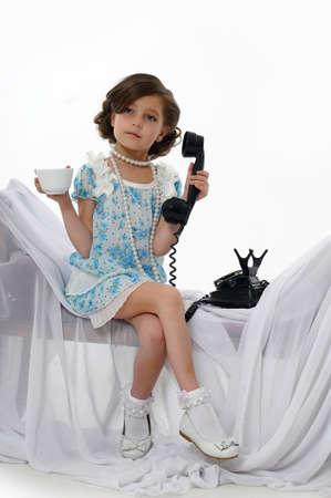 retro photo girls phone conversations Stock Photo - 15662337