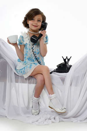 retro photo girls phone conversations photo