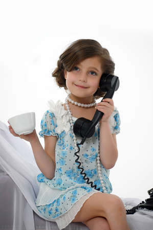retro photo girls phone conversations Stock Photo - 15662335