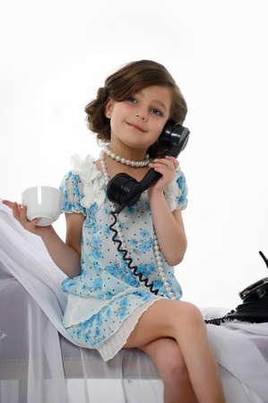 retro photo girls phone conversations Stock Photo - 15662321