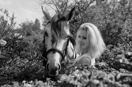 blonde with a horse among the bushes of a blooming rose hips Stock Photo - 14994688
