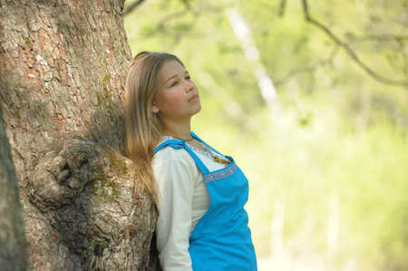 girl near the tree summer photo