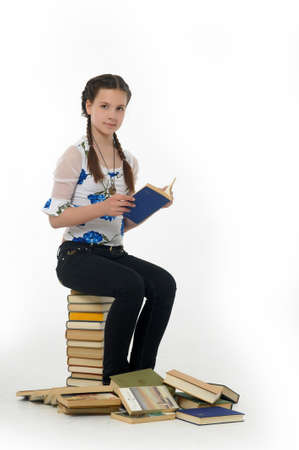 College student girl with books photo