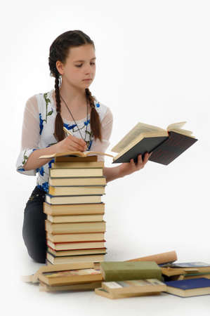 Collegio ragazza studente con libri photo