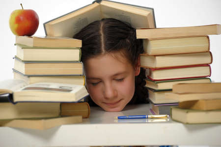 educations: girl teenager and set of books