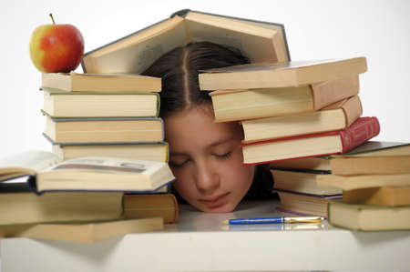 girl teenager and set of books Stock Photo - 15026628
