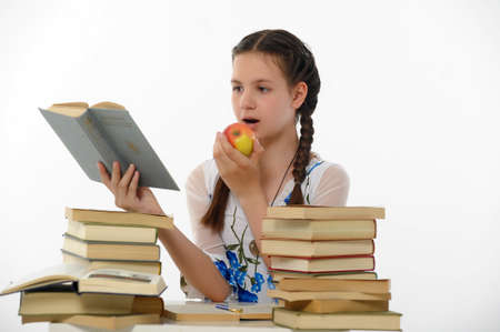 dult: girl teenager and set of books