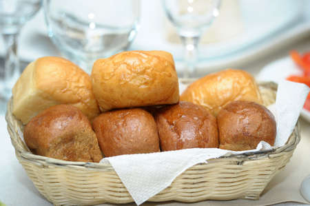 Bread rolls in a basket photo