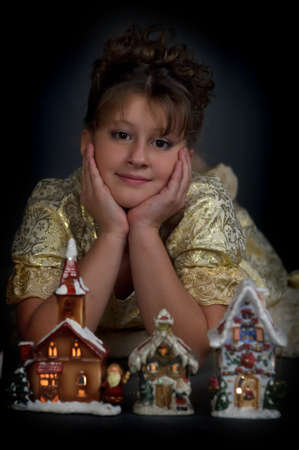 Girl with Christmas lanterns photo