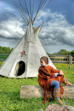teepee: North American Indian girl Stock Photo