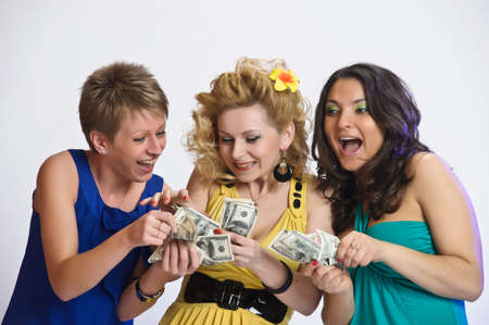 girls with money  in their hands Stock Photo - 15145069