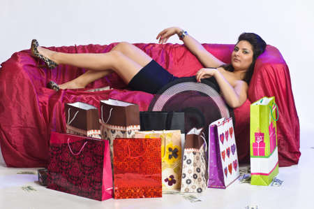 girl resting after shopping Stock Photo - 15144946