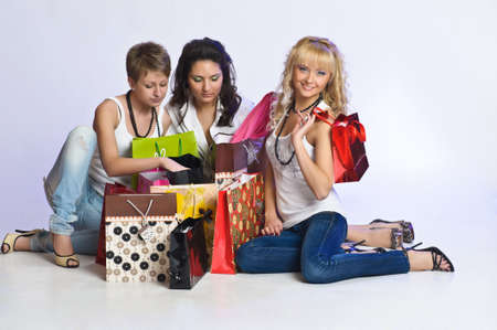 three friends after shopping Stock Photo - 15145246