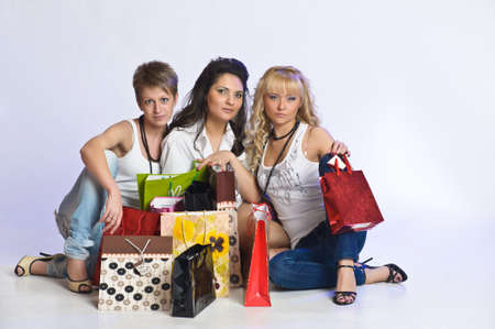 three friends after shopping Stock Photo - 15145235