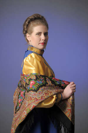girl in traditional russian folk dress photo