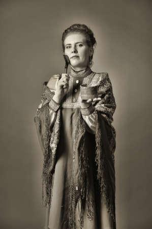 kokoshnik: girl in traditional russian folk dress