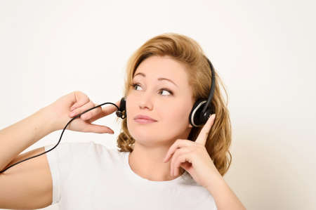 Woman with a Headset Stock Photo - 15126977