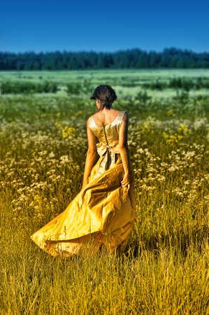 Fashion girl in retro style dress Stock Photo - 15225356