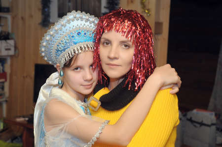 mother and daughter in the New Year, Russia photo