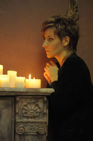 the beautiful girl with candles photo