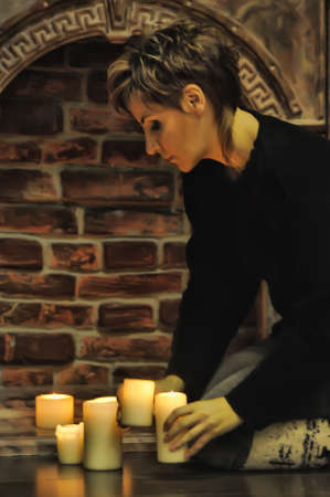 the beautiful girl with candles Stock Photo - 15482866