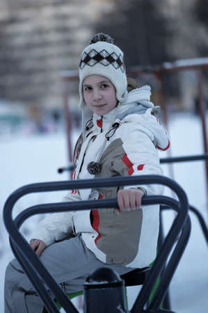 girl in a winter sports jacket photo
