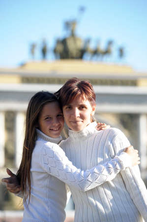 A young teenage daughter with a mother photo
