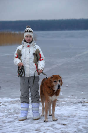 The girl the teenager with the Central Asian sheep-dog Stock Photo - 15144765
