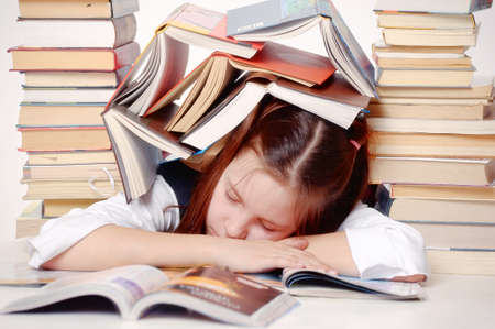 girl tired of studying photo