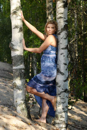 european white birch: Girl near birch