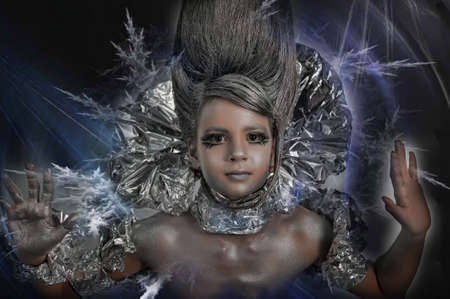 Portrait of girl body painted with silver photo