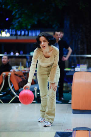 girl with bowling ball  photo