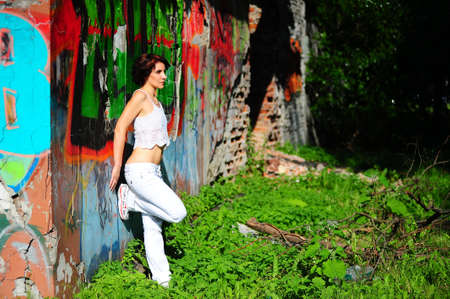 Girl with graffiti photo