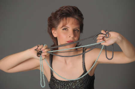 Woman with a pearl necklace photo