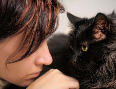 The girl with a cat Stock Photo - 15658583