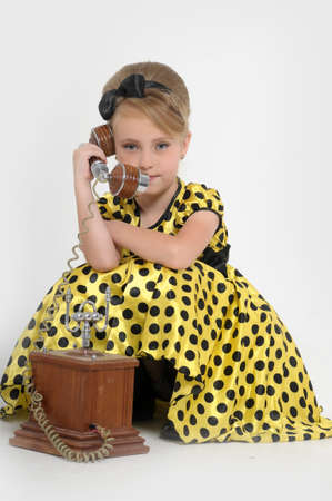 girl with a retro phone Stock Photo - 15429154
