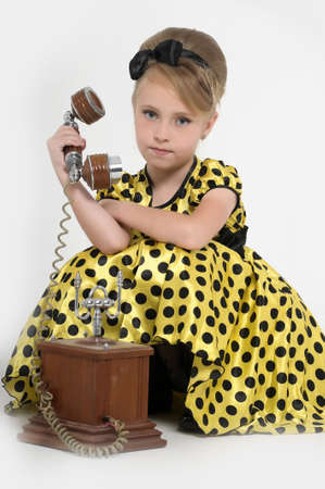 girl with a retro phone Stock Photo - 15429161