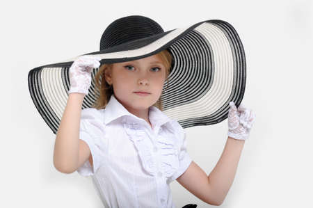 Girl in a big hat in the style of pin up Stock Photo - 15887518