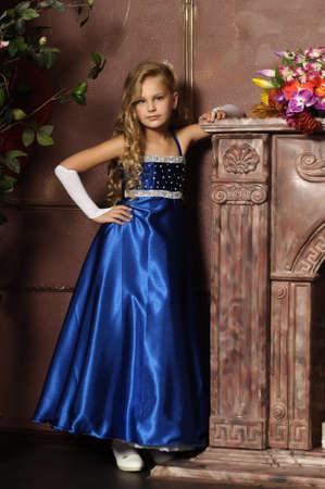 cinderella dress: beautiful blond girl in retro style Stock Photo
