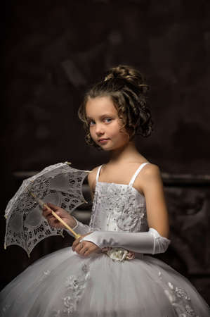 little princess retro with umbrella Stock Photo - 16572345