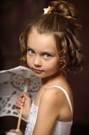 little princess retro with umbrella Stock Photo - 16572353