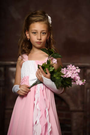 pageant: little princess in a pink dress Stock Photo