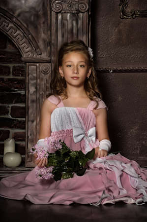 little princess in a pink dress Stock Photo - 16411790