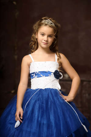 little princess in blue smart dress and tiara Stock Photo - 17370920