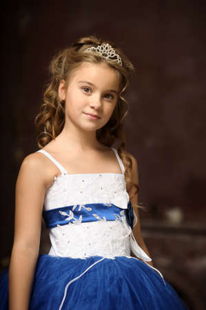 little princess in blue smart dress and tiara Stock Photo - 17370919